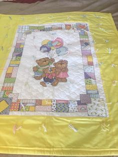 Excited to share this item from my shop: Three Bears Quilt Baby Blanket handmade cross stitch Cross Stitch Baby Blanket, Quilted Baby Blanket, Bear Blanket, Flannel Blanket, Tie Quilt, Burp Cloths, Cross Stitching, Baby Quilts, Fabric Patterns