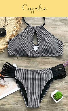 Inspire confidence and beauty in our chic stripe halter bikini set~ Expose your body in the sun, pair your favorite hat and sunglasses to show your chic style.