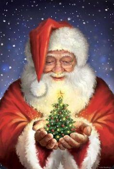 Santa Claus Christmas Tree, Noel Christmas, Christmas Wishes, Christmas Greetings, Winter Christmas, Vintage Christmas, Xmas, Santa Clause, Christmas Artwork