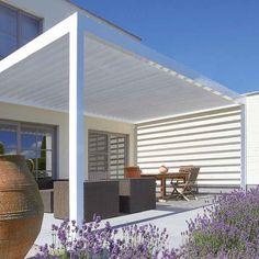 Angebaute Pergola / selbsttragend / Aluminium / orientierbaren Lamellen ALGARVE® RENSON Diese stilvolle Terrassenüberdachung mit einem flachen, wasserabweisenden Sonnenschutzdach verwandelt Ihre Terrasse zu einem angenehmen Außenbereich, das ganze Jahr hindurch. Dank der einfachen Bedienung und der geräuschlosen Verstellfunktion der Lamellen erzielen Sie im Handumdrehen den idealen Lichteinfall und die gewünschte Lüftung. Genießen Sie optimalen Wohnkomfort, bei jedem Wetter! Wenn Sie die…