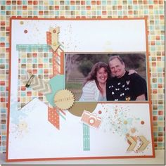 Stampin Up Scrapbook layout with Peachy Keen Gorgeous Grunge and Retro Fresh colours. Zoe Tant Stampin Up UK Demonstrator