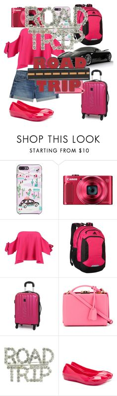 """road trip"" by anannyatiwari ❤ liked on Polyvore featuring Kate Spade, Canon, Boohoo, adidas, It Luggage, Mark Cross and UN United Nude"