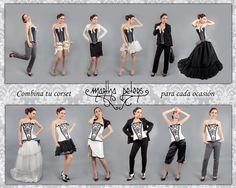 Muchas veces nuestras clientas nos preguntan como pueden combinar su corset, aquí os mostramos varias ideas para combinarlo según la ocasión y tu estilo.  Dos corsets, (uno urbano y otro de novia), y 6 cambios para cada uno de ellos.  ¿A que nunca pensasteis que un corset podía dar tantas posibilidades???