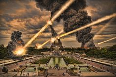 Meteorite shower over paris, destroying the Eiffel Tower
