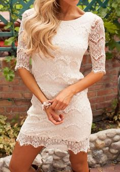 Accidentally In Love Scalloped Lace Dress Ivory from Modern Vintage Boutique. Saved to Modern Vintage Boutique. Vestidos Country, Country Dresses, Country Outfits, White Country Dress, Cheap Dresses, Cute Dresses, Summer Dresses, Dresses Dresses, Trendy Dresses
