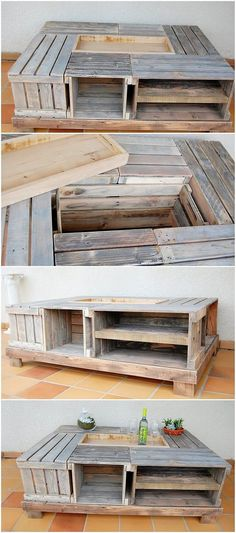 Over here we have the charming creation of the wood pallet in the custody of the pallet table with the storage space designs. You would probably be finding this whole set up of table to add up it in your house areas. See how majestic it is looking in the overall finishing!