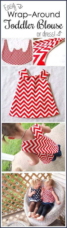 Suuuper simple wrap-around dress tutorial and free PDF pattern to download... so cute for toddlers!