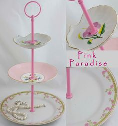 3 Tiered Server Jewelry Dish Pink Floral Cake Stand by SimplyChina