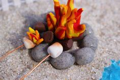 Miniature Campfire with Roasting Marshmallows, Flaming Marshmallow, Fairy Gardens, Miniature Gardens, Wedding Cake Toppers,  Dollhouse