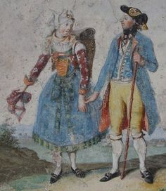 Painting by Margarethe Geiger, c. 1801. Man and woman of Geldersheim.  Geldersheim is a municipality in the district of Schweinfurt in Bavaria, Germany.  Women -- Clothing & dress -- Germany -- 1700-1799.  German, late 18th century.