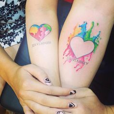 Water colour hearts for the loving couple . Kindly contact Su for appointments at exotic@exotictattoopiercing.com Singapore tattoo studio , Orchard Road, Singapore female tattoo artist, Johnny Two Thumbs Family Tattoo Studio, Exotic Tattoos and Piercings. Couple Tattoo Heart, Couple Tattoos Love, Family Tattoos, Tribal Tattoos, Body Art Tattoos, Cool Tattoos, Anchor Tattoos, Tatoos, Tattoos For Daughters