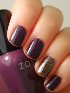 "Use Zoya ""Monica"" as a base coat and layer with Zoya ""Daul"" on top of the accent nail once the base coat is dry. Finish with a top coat."