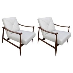Pair Of Liceu De Arte Chairs MidCentury Modern, Upholstery Fabric, Wood, Armchair by Adesso Eclectic Imports