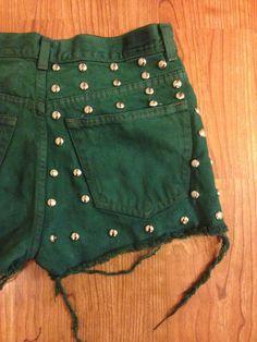 Green Studded High Waisted Shorts. $37.99, via Etsy.
