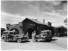 #VintageSantaFe Edward A. Kemp (Dates Unknown) Lamy Depot And Harvey Indian Detour Cars Waiting Arrival of Train, ca. 1930 Silver Gelatin Print Palace of the Governors/Photo Archives  #53651