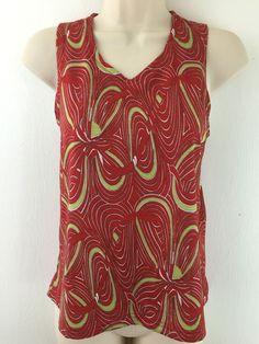 Mountain Hard Wear Womens M Top Swirl Print Sleeveless Stretch V-Neck Blouse USA #MountainHardWear #TankCami #Casual