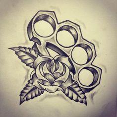 Brass Knuckles Old School tattoo sketch