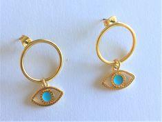 Earrings, Evileye earrings, Gold earrings, Gold Hoop Earrings,  Minimal Gold Hoops, Everyday Earrings, Greek jewelry, Made in Greece