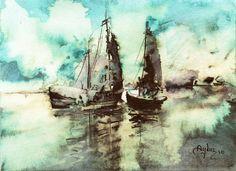 """Saatchi Art Artist: Abdullah Aydin Baykara; Watercolor 2010 Painting """"Sailboats"""""""