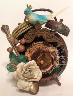 Altered art, TIM HOLTZ assemblage clock ORIGINAL art by ThePokeyPoodle on Etsy