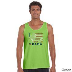 Los Angeles Pop Art Barack Obama Men's Tank Top With 'America the Beautiful' Lyrics