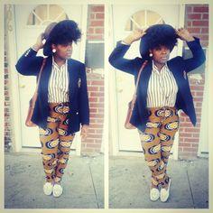 African print pants w/preppy look = funky fresh
