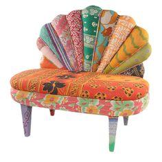 Peacock Love Chair I - vintage kantha fabric - via Joss & Main.