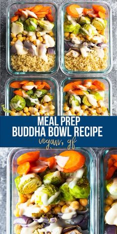 This Buddha bowl recipe is full of healthy plant-based ingredients and works great for meal prep! Customize it using your favorite veggies and don't forget to drizzle with the delicious tahini sauce. pot recipes for beginners videos Buddha Bowl Recipe Healthy Meal Prep, Healthy Dinner Recipes, Whole Food Recipes, Vegetarian Recipes, Healthy Eating, Healthy Food, Healthy Premade Meals, Kids Vegan Meals, Vegan Weekly Meal Plan