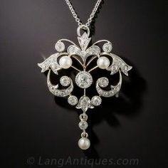 Edwardian Diamond and Pearl Lavaliere - Edwardian Jewelry - Vintage Jewelry Golden Jewelry, Pearl Jewelry, Diamond Jewelry, Fine Jewelry, Diamond Choker, Jewlery, Silver Jewelry, Edwardian Jewelry, Antique Jewelry