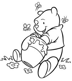 winnie the pooh getting delicious honey coloring page - Printable Coloring Pages Kids