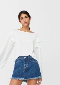 Falda denim terminaciones deshilachadas - Faldas de Mujer | MANGO España