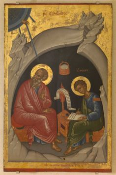 St John the Evangelist and St Prohoros. The Hellenic Institute for Byzantine and Post-Byzantine Studies in Venice. Religious Images, Religious Icons, Religious Art, Byzantine Icons, Byzantine Art, St John The Evangelist, Religion Catolica, Best Icons, Art Icon