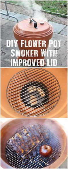 DIY Flower Pot Smoker With Improved Lid - In warmer climates you will need to use a drying or smoking process to preserve your meat. This is a simple DIY flower pot smoker to do just that and have awesome smoked food for any time of the year, not just emergencies.