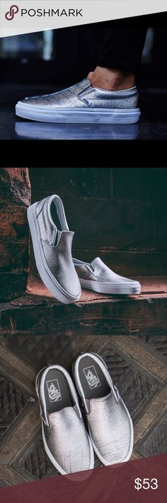 ✨✨{VANS} Foil Metallic Slip-On Unisex, men's size 6.5, women's 8. Brand new with tags attached, never been worn. Super cute, color: gray and silver metallic. Price is firm.   ❌ NO TRADES - SELLING ON POSH ONLY ❌ ❌ NO LOWBALLING ❌  ✅ Bundle Discounts ✅ Ship Next Day of Purchase   % AUTHENTIC Vans Shoes