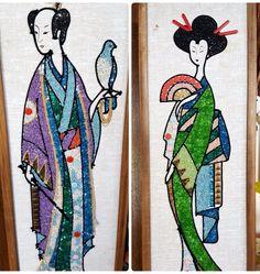 Fabulous Pair of Mid Century Gravel Rock Art Oriental Geisha Girl MCM #Vintage