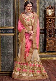 Shop pink,beige chennai silk bridal indian lehenga saree , freeshipping all over the world , Item code Lehenga Style Saree, Pink Lehenga, Bridal Lehenga Choli, Indian Lehenga, Pink Beige, Pink Silk, Wedding Lehenga Designs, Off White Designer, Latest Sarees