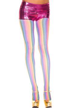 Vertical Rainbow Stripe Pantyhose