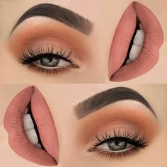 There are a lot of people who nowadays are applying cosmetics using their fingers, in my opinion it looks a lot better if applied using a make-up brush. This article describes the reasons for this and looks at the types of make-up bru Gorgeous Makeup, Pretty Makeup, Love Makeup, Makeup Inspo, Makeup Inspiration, Peach Makeup Look, Makeup 2016, Fresh Makeup, Flawless Makeup