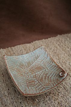 Ceramic Pottery Curved Leaf Footed Plate by CaliforniaSoulshine, $20.00
