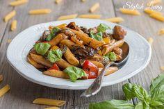 Nudelsalat mit gebratenem Gemüse und Balsamico