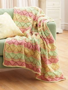 Lacy Waves Afghan | Yarn | Free Knitting Patterns | Crochet Patterns | Yarnspirations