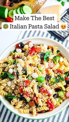 Best Pasta Salad, Summer Pasta Salad, Veggie Pasta, Pasta Salad Italian, Recipe For Pasta Salad, Cold Pasta Salads, Cold Pasta Recipes, Light Pasta Salads, Vegetarian Pasta Salad