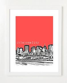 Oklahoma City Skyline Poster  Oklahoma City Art  by BugsyAndSprite, $20.00