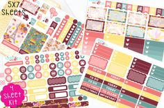 This set includes the Autumn Romance designer life planner kit stickers in the colors shown. They will be FOUR sheets of matte finished stickers individually die-cut, ready to peel off and stick onto your planner or calendar! These are a perfect fit for the Erin Condren Planner!  The sticker sheets are 5x7!  It is best to use a fine tip sharpie marker or a standard ball point pen!!  Disclaimer: Listing and information above is for the sticker sheet shown. Other items shown in picture do not…