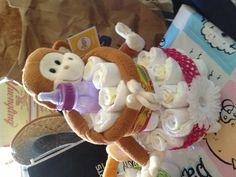 Diaper Cake - Centerpiece - Monkey