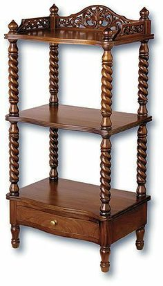 Victorian Whatnot Shelves by Laurel Crown Furniture. $450.00. Victorian whatnot shelves bring elegant storage and traditional antique style to your home or office. Your precious keepsakes and collectibles deserve an equally beautiful display rack and these Victorian whatnot shelves deliver. Three shelves and one drawer provide plenty of space for all your treasures and knick knacks. Additionally, the top shelf has an intricately carved three quarter pierced gallery and is ...