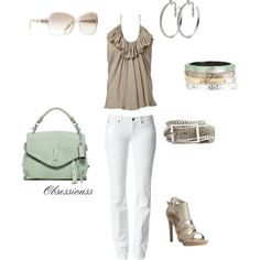 Taupe with just a little bit of mint....bag and bracelets. Love it:)