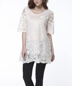 This Simply Couture Pink Crocheted Damask Tunic - Women by Simply Couture is perfect! #zulilyfinds