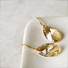 Tears of Joy -- Dazzle - Swarovski Earrings, Gold Jewelry, Everyday Chic, Classic Elegance, Classic Jewelry. $28.00, via Etsy.