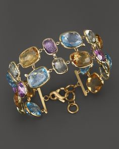 VIANNA BRASIL 18K Yellow Gold Bracelet with Amethyst, Blue Topaz, Citrine, Prasiolite and Diamond Accents
